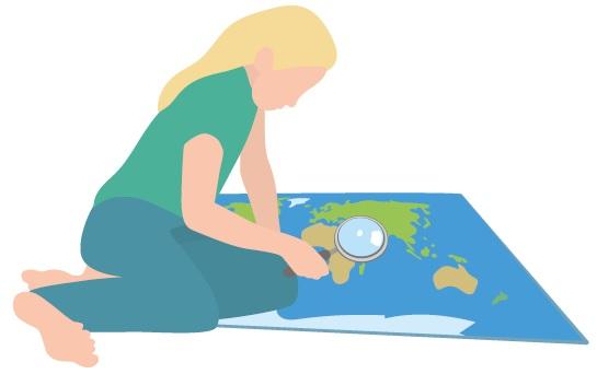 Mensch mit Weltkarte Zwischenstopp2030