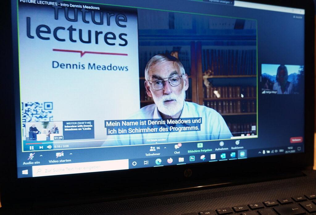 Screenshot Video zu den Future Lectures von Dennis Meadows