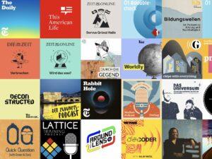 viele verschiedene Podcast-Logos